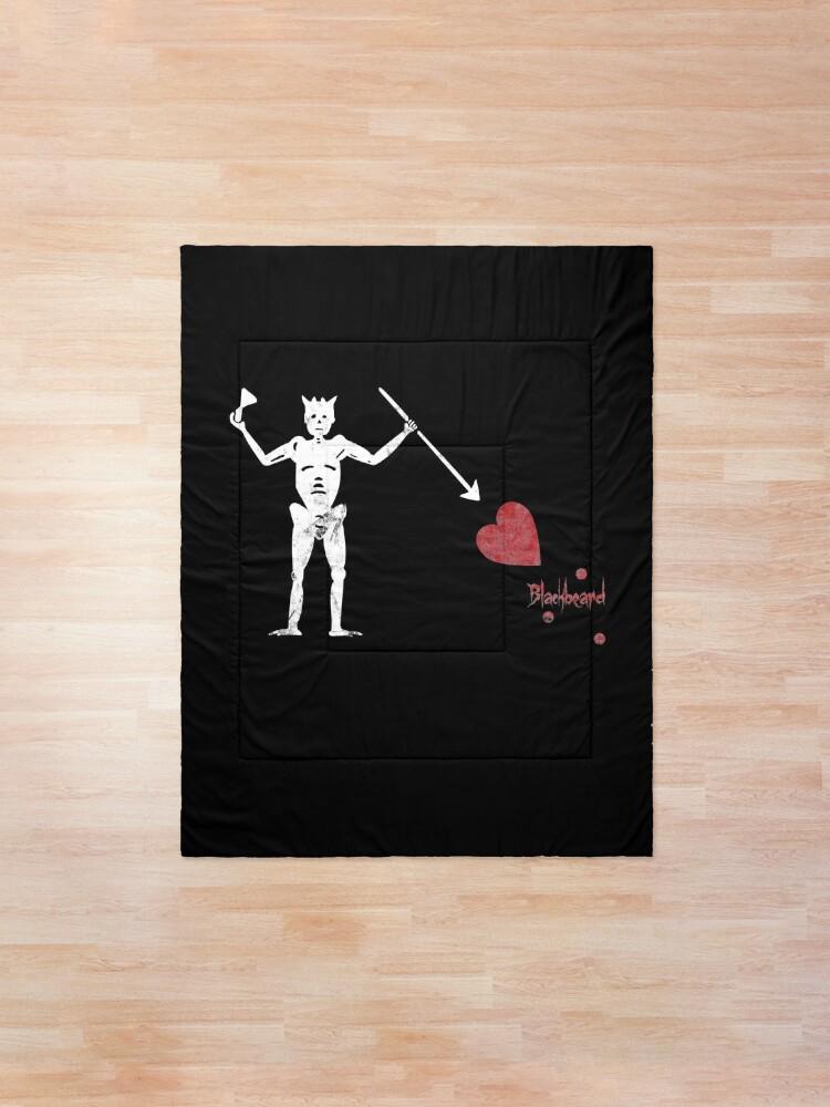 Alternate view of Pirate Flag of Blackbeard Jolly Rodger Fans Original Love Heart Blackbeard Flag Graphic  Comforter