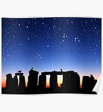 Dawn at Stonehenge: Taurus, Pleiades and Aries Poster