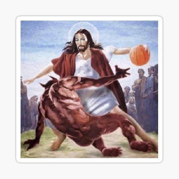 Jesus kreuzt den Teufel Sticker