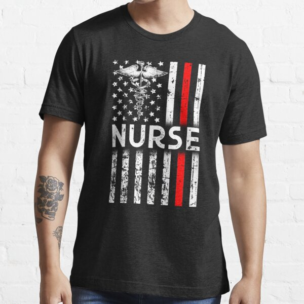 Patriotic American Flag Nurse - Nurse Thin Red Line - A tribute to All Brave Nurse Frontliners Essential T-Shirt