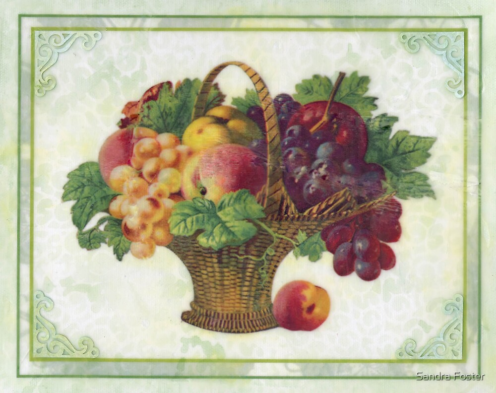 Old fashioned fruit basket picture done in beeswax by Sandra Foster