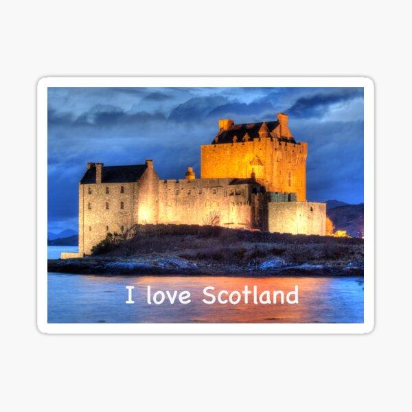I love Scotland and Eilean Donan Castle , the Highlands , Scotland in winter Sticker
