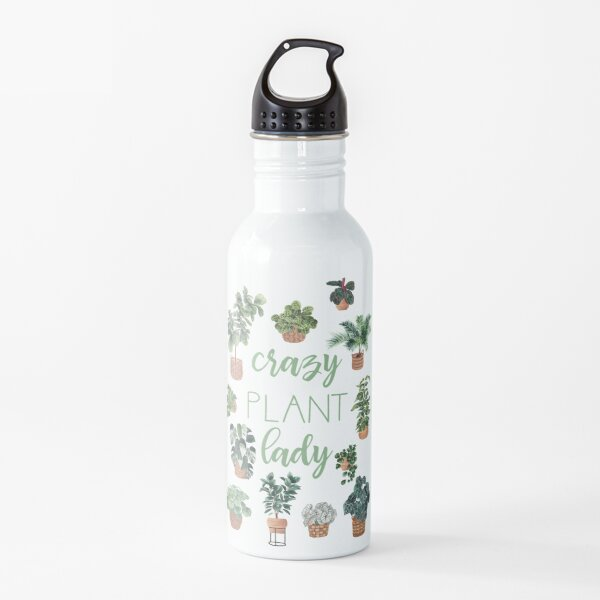 Crazy Plant Lady Illustration Quote Water Bottle