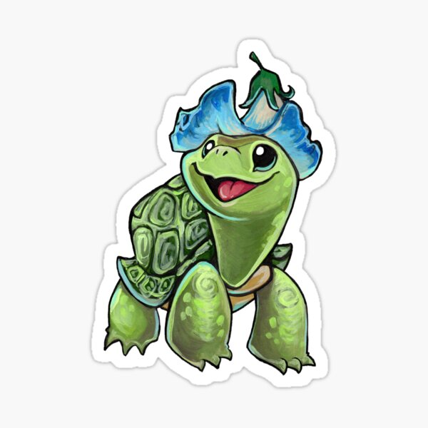 Turtle flower hat Sticker