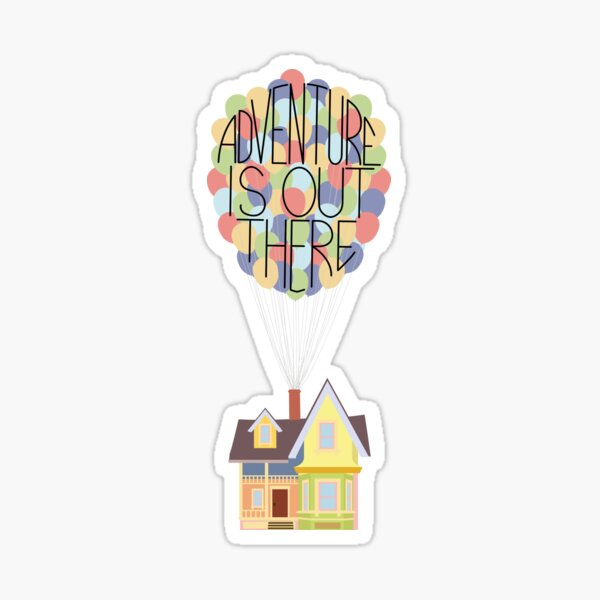 Colourful House with Balloons - Adventure Is Out There Sticker