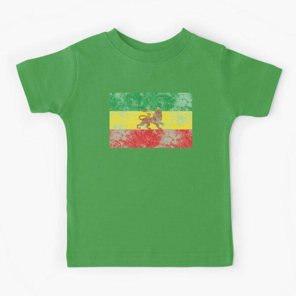 Old Flag of Ethiopia Lion of Judah Rastafarian Reggae Vintage Distressed Print Kids T-Shirt
