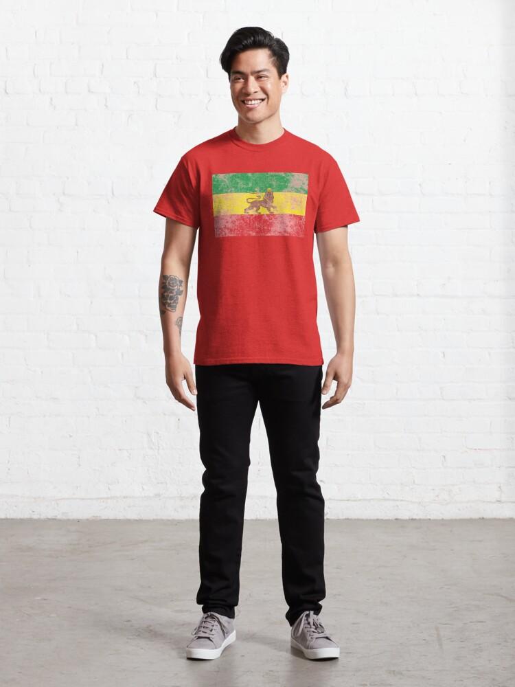 Alternate view of Old Flag of Ethiopia Lion of Judah Rastafarian Reggae Vintage Distressed Print Classic T-Shirt
