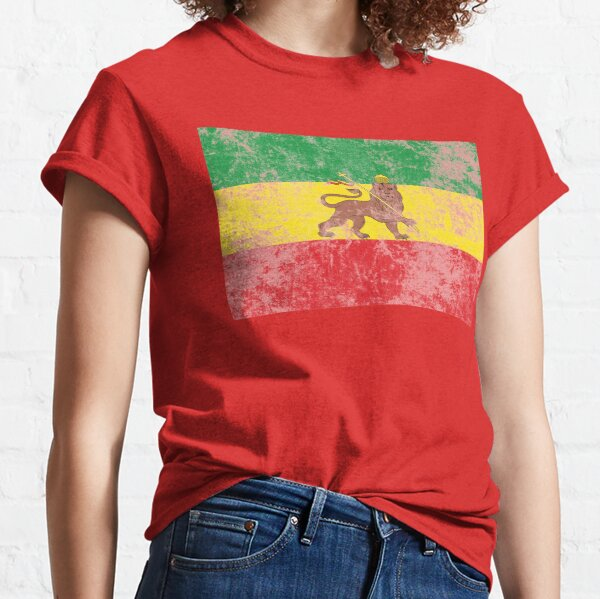 Old Flag of Ethiopia Lion of Judah Rastafarian Reggae Vintage Distressed Print Classic T-Shirt