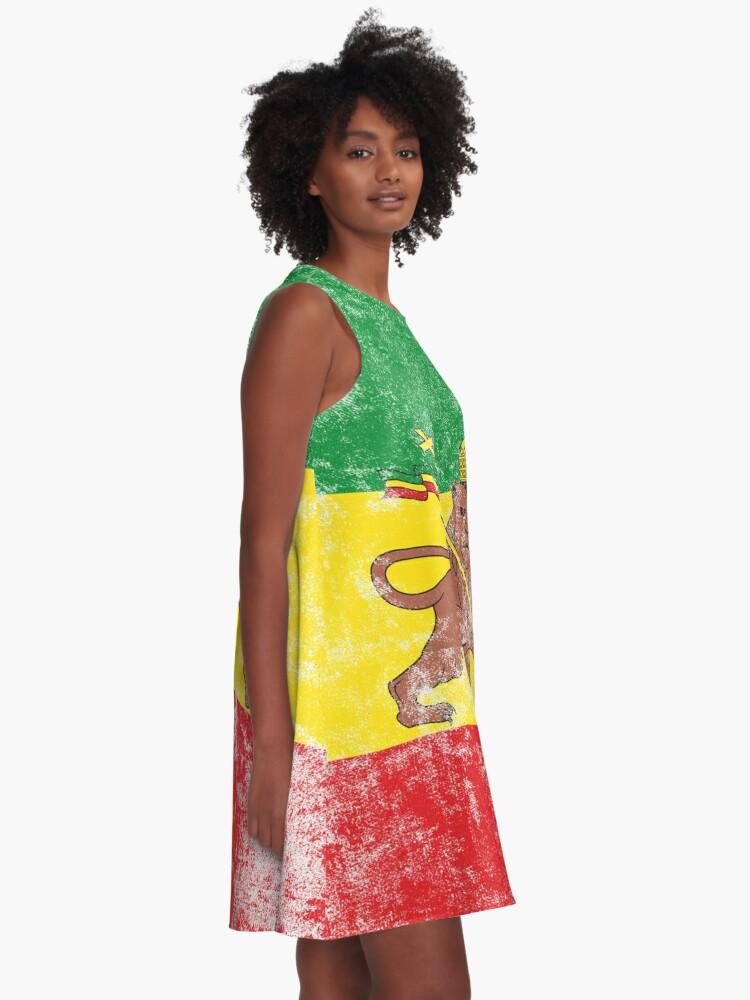 Alternate view of Old Flag of Ethiopia Lion of Judah Rastafarian Reggae Vintage Distressed Print A-Line Dress
