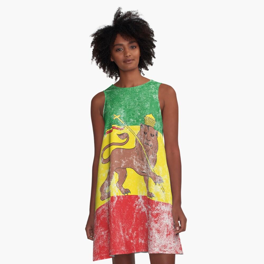 Old Flag of Ethiopia Lion of Judah Rastafarian Reggae Vintage Distressed Print A-Line Dress