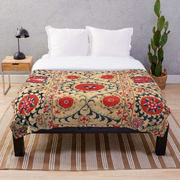 Samarkand Suzani Bokhara Uzbekistan Floral Embroidery Print Throw Blanket
