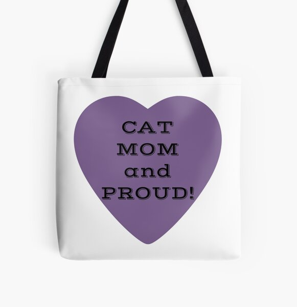 Cat Mom and Proud! Purple Heart All Over Print Tote Bag