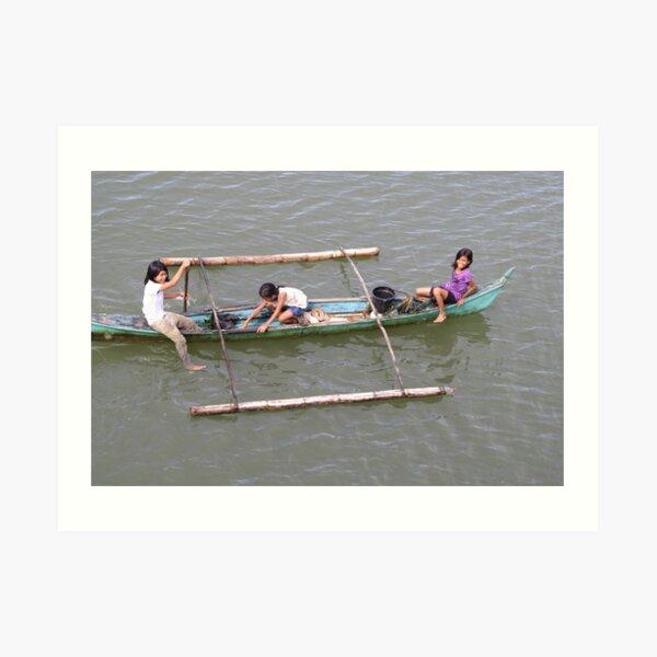 Children in a fishing boat Art Print