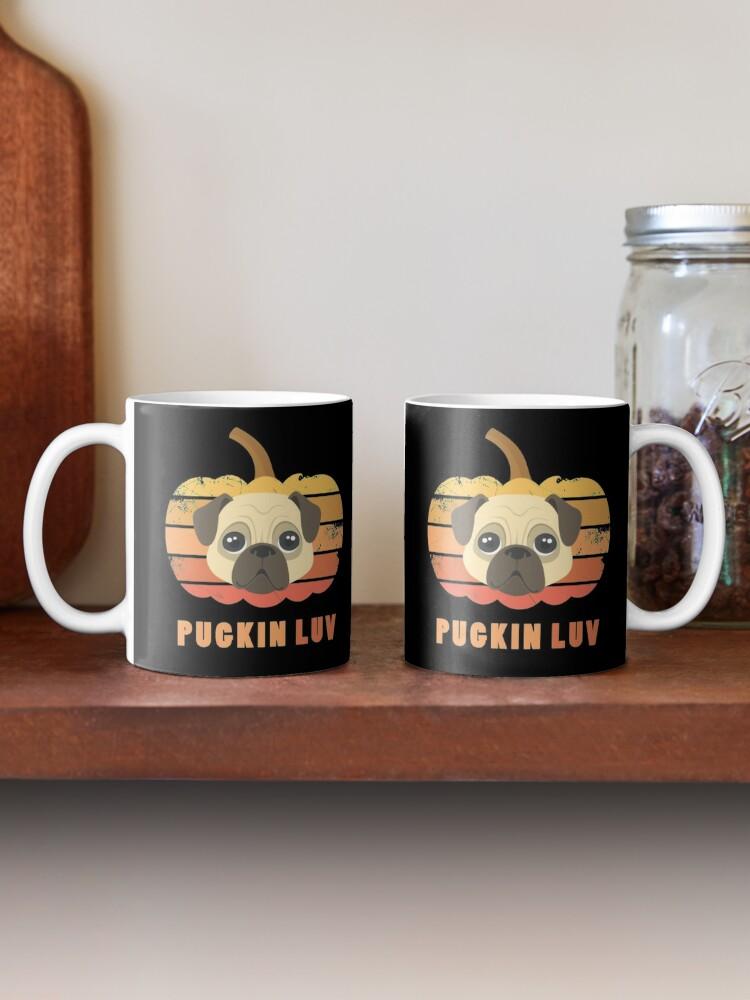 Alternate view of Pugkin Luv Jackolantern Pug Gourd Fleabag Puppy. Mug
