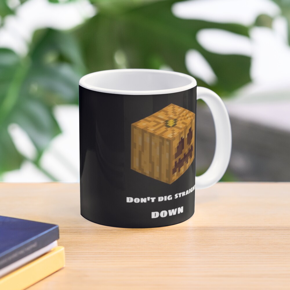 Don't Dig Straight Down Jackolantern Pixel Gourd. Mug