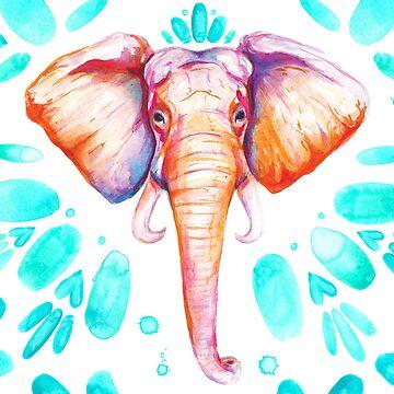 Bright Watercolor Elephant by aterkaderk