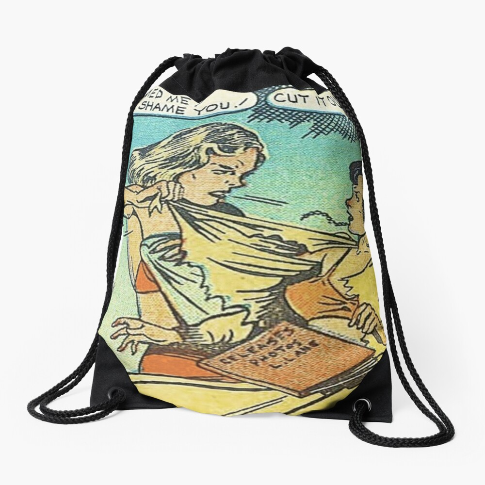 Vintage Comic Book Fighting Women Shame On You Old Comic Strip Pin-up Graphic Drawstring Bag