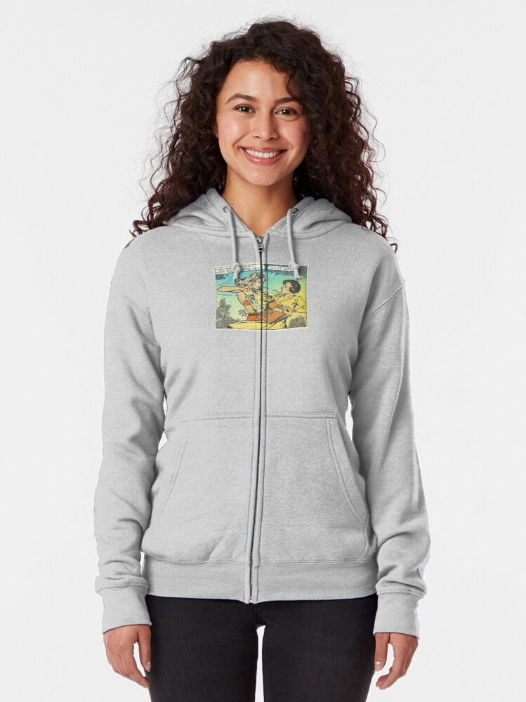 Alternate view of Vintage Comic Book Fighting Women Shame On You Old Comic Strip Pin-up Graphic Zipped Hoodie