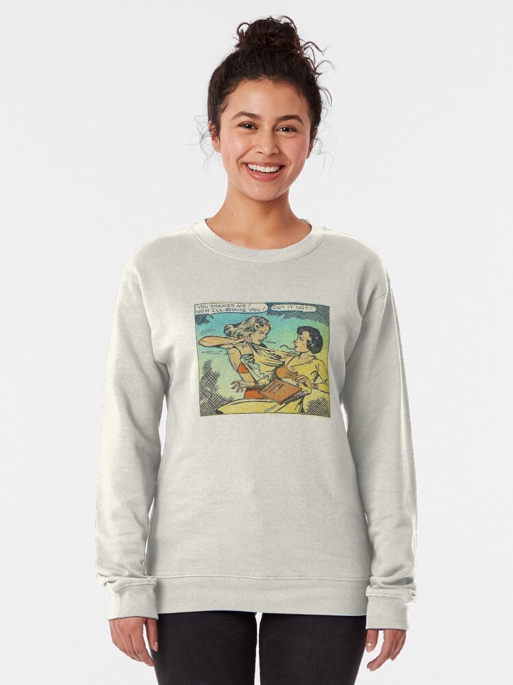 Alternate view of Vintage Comic Book Fighting Women Shame On You Old Comic Strip Pin-up Graphic Pullover Sweatshirt