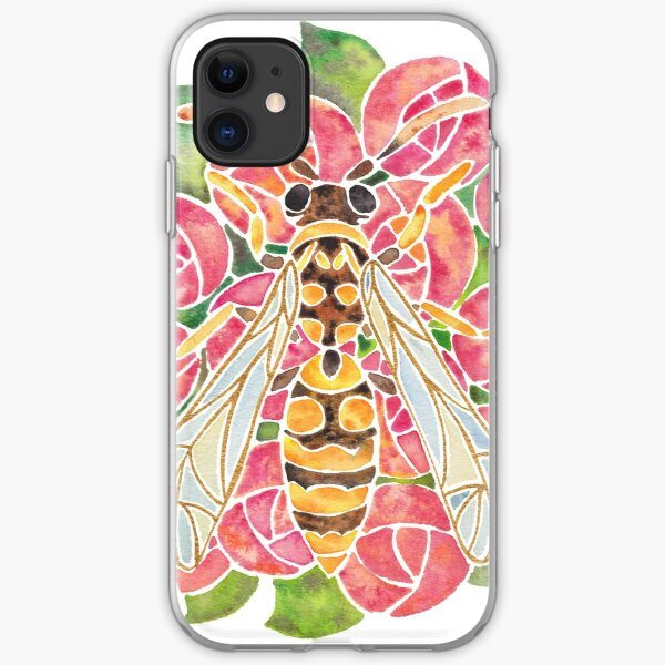 Watercolor Wasp Illustration iPhone Soft Case