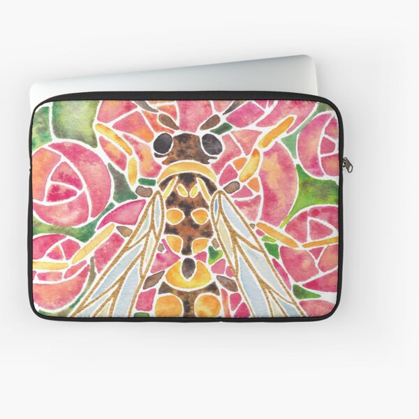 Watercolor Wasp Illustration Laptop Sleeve