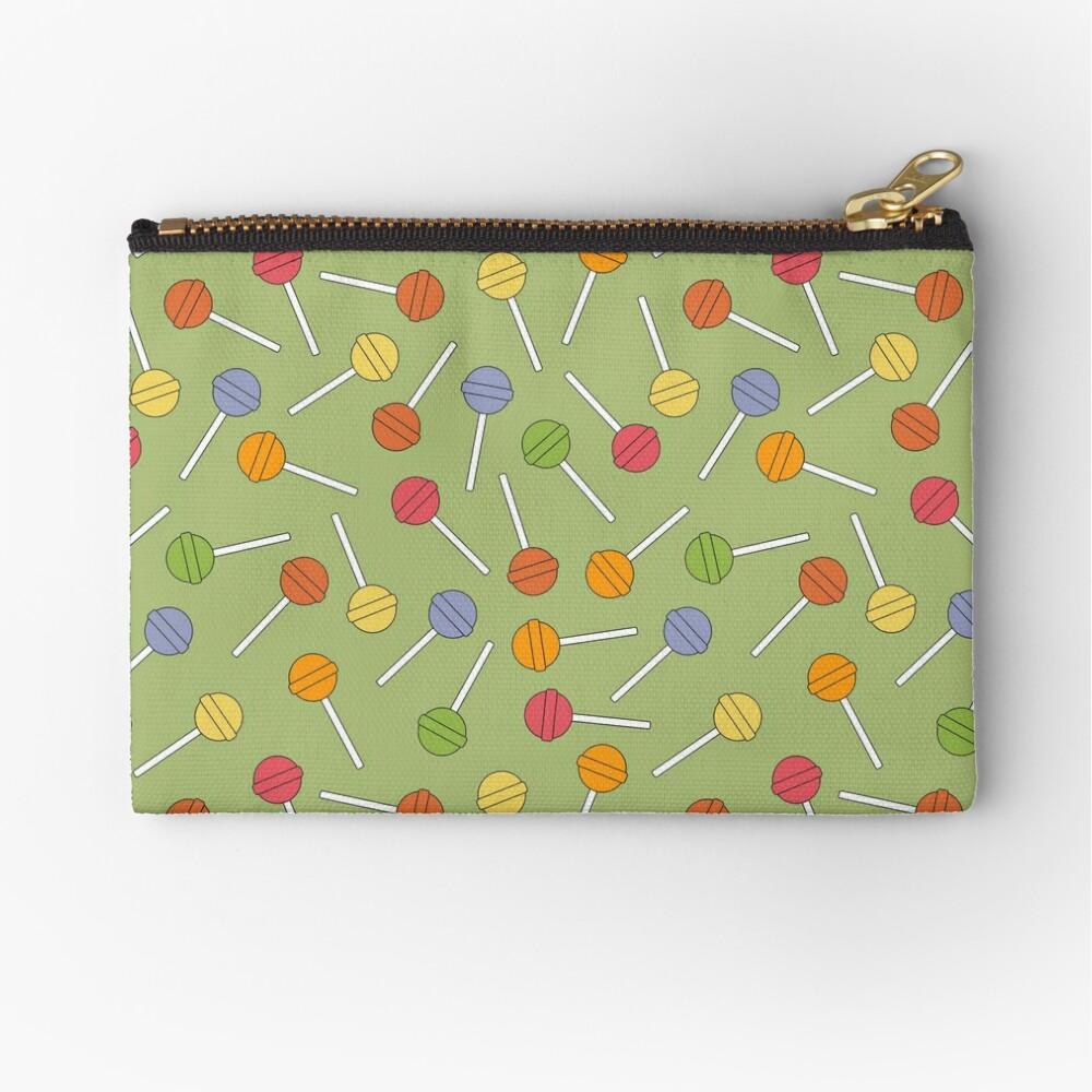 Happy Lollipops Sugar Candy - Green Background Zipper Pouch