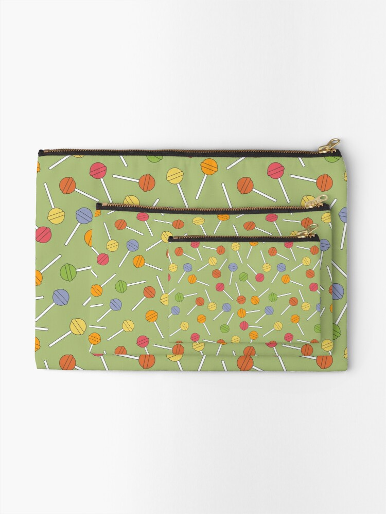 Alternate view of Happy Lollipops Sugar Candy - Green Background Zipper Pouch