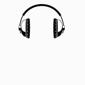 Headphones - Black Line Art - No Cord by jphphotography