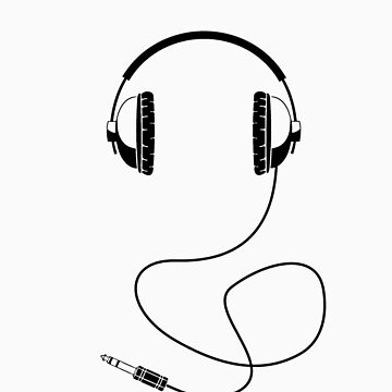 Headphones - Black Line Art - With Cord by jphphotography