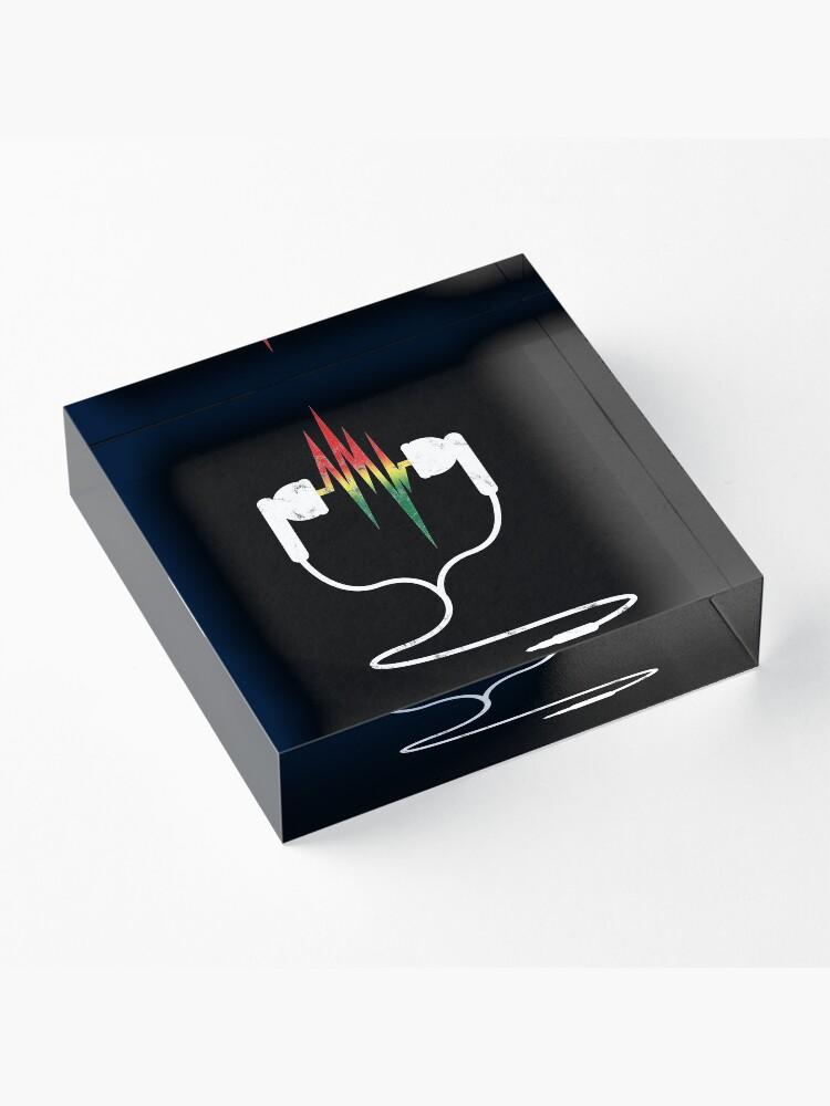 Alternate view of Rasta Reggae Ethiopian Flag Earphones And Music Wave Acrylic Block