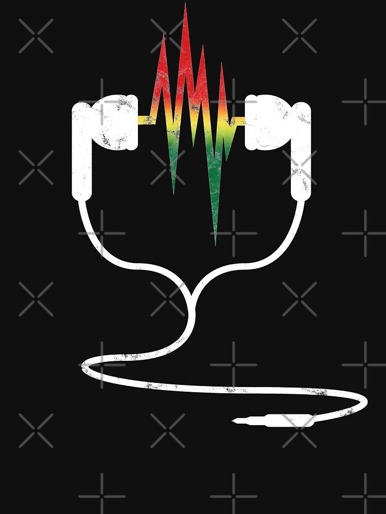 Rasta Reggae Ethiopian Flag Earphones And Music Wave by thespottydogg