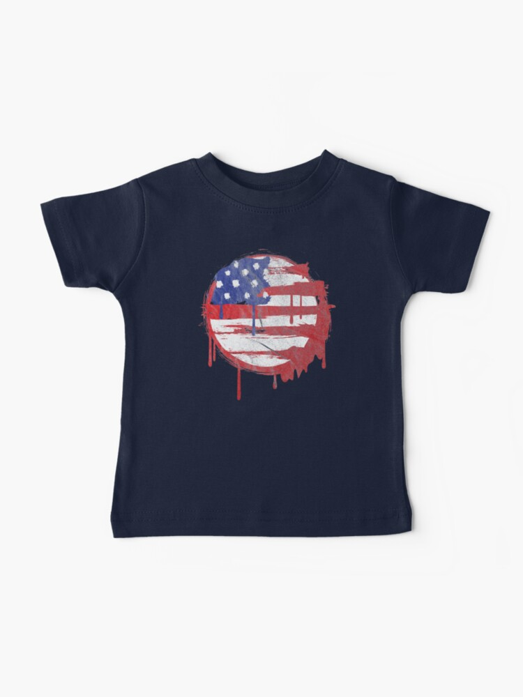STARS AND STRIPES ABSTRACT PRINT KIDS T-SHIRT USA UNITED STATES AMERICA FLAG TOP