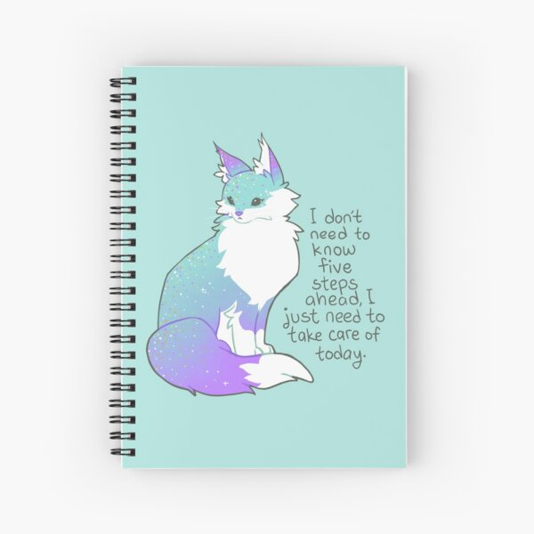 """""""I just need to take care of today"""" Soft Teal Maine Coon Cat Spiral Notebook"""