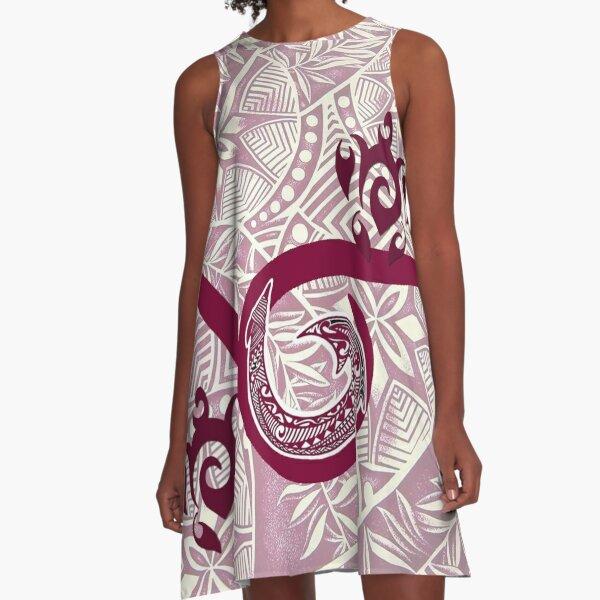 Hawaiian Tapa and Tribal Fish Hook A-Line Dress