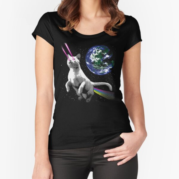 Laser Cat in Space - Cat Astronaut in Front of Planet Earth Fitted Scoop T-Shirt