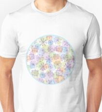 pattern with purple snowflakes on light background Unisex T-Shirt