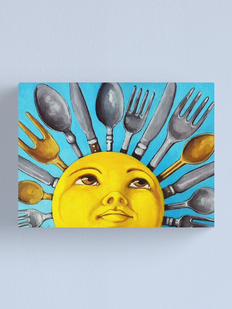 Alternate view of What's for Lunch? CBS Sunday Morning Show Sun Art oil painting Canvas Print