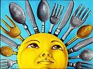 What's for Lunch? CBS Sunday Morning Show Sun Art oil painting by LindaAppleArt