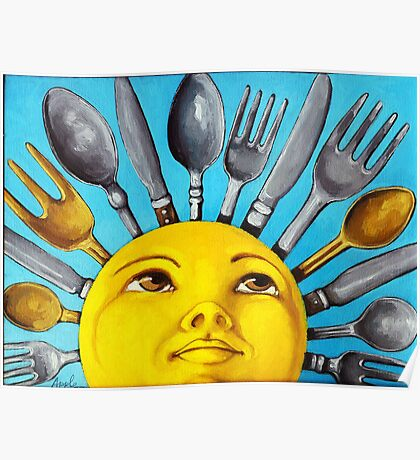 What's for Lunch? CBS Sunday Morning Show Sun Art oil painting Poster