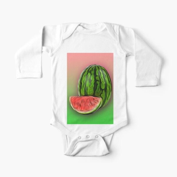 Watermelon /The FruitShop Long Sleeve Baby One-Piece