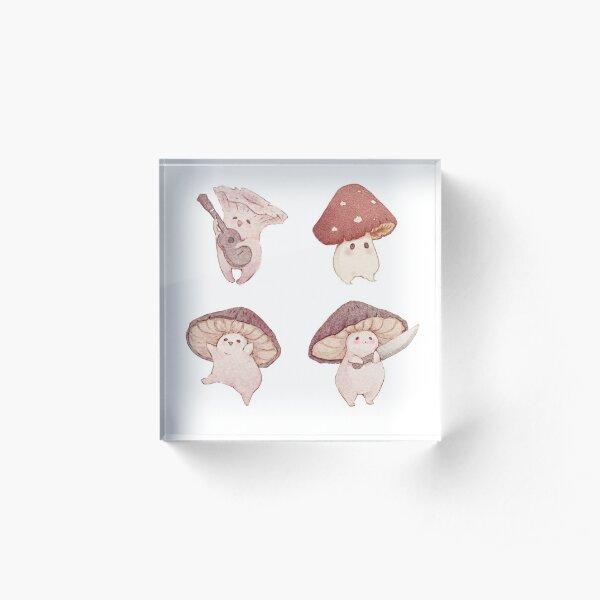 Four cute mushroom friends Acrylic Block