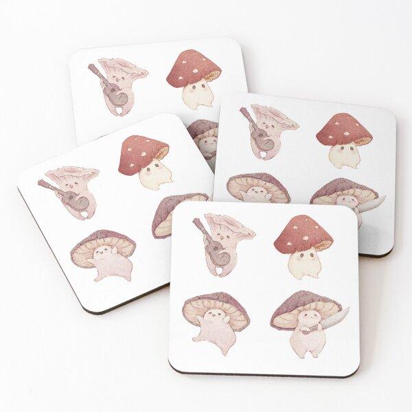 Four cute mushroom friends Coasters (Set of 4)