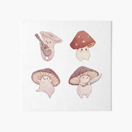 Four cute mushroom friends Art Board Print