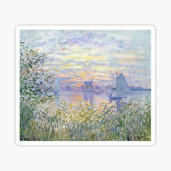 """Claude Monet's """"Soleil Couchant Sur la Seine à Lavacourt"""" - Sunset on The Seine Sticker"""