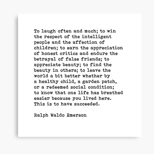 To Laugh Often And Much, Success, Ralph Waldo Emerson Quote Canvas Print