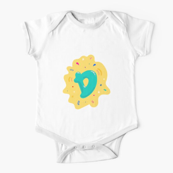 Colourful Letter D Short Sleeve Baby One-Piece