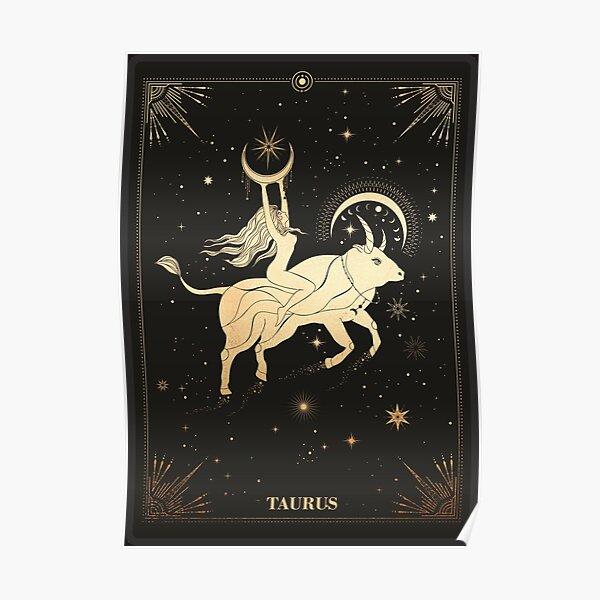Taurus Zodiac Sign Golden  Poster