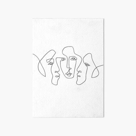 3 Faces - One Line Art Art Board Print