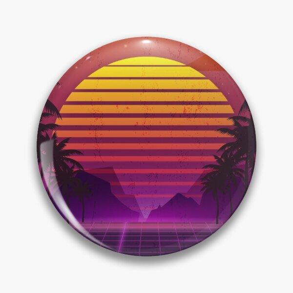 80's Palm Trees Sunset Vaporwave Pin