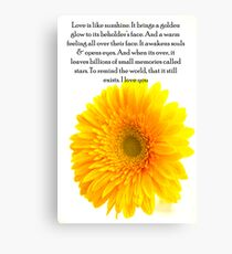 Yellow Gerbera with Poem. Canvas Print